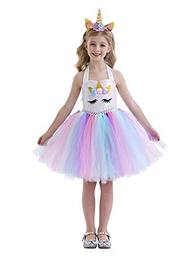 WonderBabe Unicornio Tutu Disfraz Princesa Vestido Nios Nias Flor Arco Iris Cumpleaos Carnaval Fiesta De Halloween Trajes 8-9 Aos