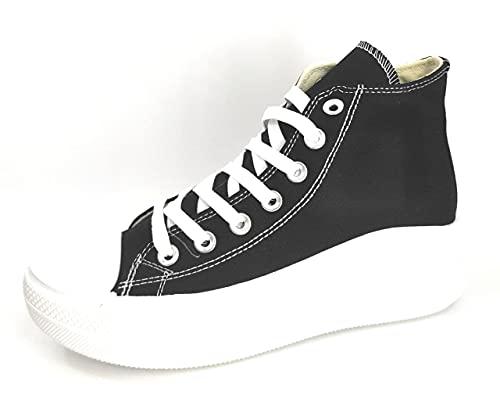 Encarni Zapatería - Zapatillas Cásual para Mujer Lona con Plataforma   Bambas Abotinadas Lona (Negro Suela Redonda, Numeric_40)