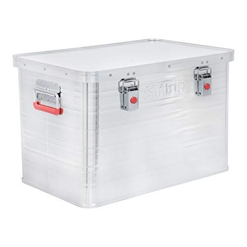 STIER Alubox, Aluminiumbox 65L, Staub- und spritzwasserresistent mit Gummidichtung und 2 Klapphandgriffen
