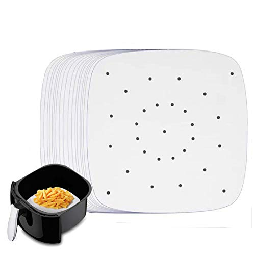 Air Fryer Liners - 6.5 inches, 200 pcs square Perforated Parchment Paper Liner/Air Fry Parchment Paper/Bamboo Steamer Paper for Air Fryer