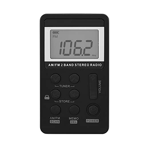 Kuuleyn Radio FM, Radio de Bolsillo, Radio Am FM, Mini Receptor de Radio de Bolsillo estéreo de 2 Bandas Am/FM con Pantalla LCD y Auriculares y batería Recargable para Interiores y Exteriores
