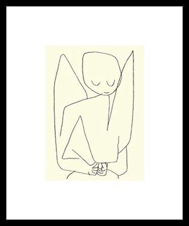 Germanposters Paul Klee Vergesslicher Engel Poster Kunstdruck Siebdruck Bild im Alu Rahmen in schwarz 60x50cm