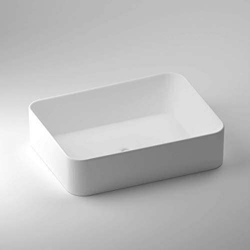 SCHWAN SPA - Lavabo da appoggio di design, 481 x 368 x 120 mm, colore: Bianco opaco (Paris)
