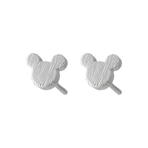 Selia Maus Ohrring mini Ohrstecker minimalistisch gebürstete Optik aus Edelstahl (Silber)