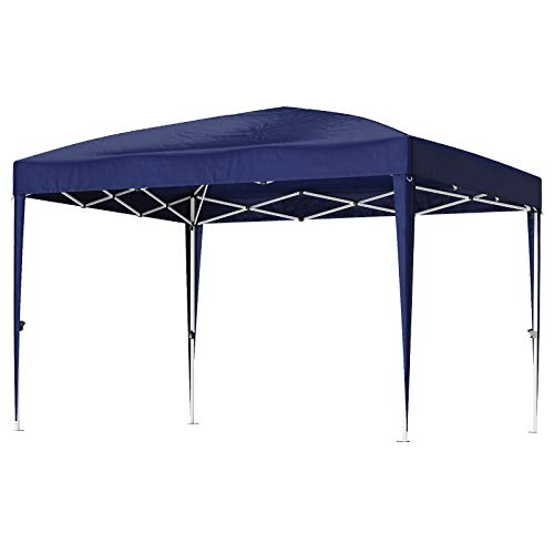 SONGMICS Gazebo, 3 x 3 m partytent, anti-uv, waterdicht Pop Up luifel tent met draagtas, draagbaar voor outdoor tuin patio partij commerciële evenementen Blauw