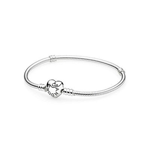 Pandora MOMENTS SILVER BRACELET WITH HEART CLASP 590719 Size 21 CM
