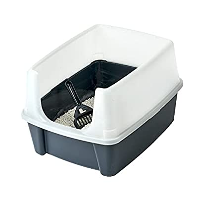 Iris Ohyama, Cat litter tray with high sides, no litter spill, removable high rim, entrance height: 15 cm, scoop included, for cat - Cat Litter Box CLH-12 - Grey