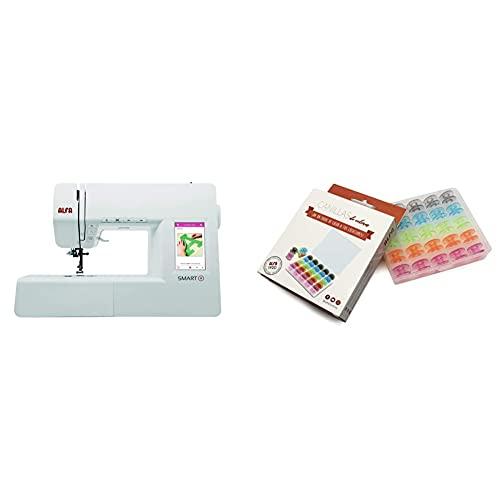 Alfa Smart Plus-Máquina de Coser electrónica, Blanco, 100 Puntadas + 6050-Caja 25 canillas Colores, Multicolor, 0