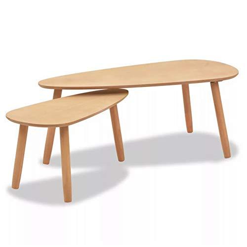 Ausla 2 Mesa de café marrón estilo escandinavo. La mesa auxiliar de pino macizo contiene una mesa grande: 100 x 50 x 40 cm pequeña y una mesa pequeña: 70 x 34,5 x 35 cm (marrón)