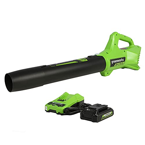 Greenworks 90 MPH 320 CFM 24-Volt Battery Cordless Handheld Leaf Blower with 2.0 Ah USB Battery and Charger