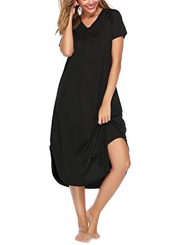 Abollria Nachthemd Damen Ärmellose Nachtkleid Baumwolle Nachtwäsche Rundhals Schlafshirt Racerback Lose Umstandskleid Mittellanges