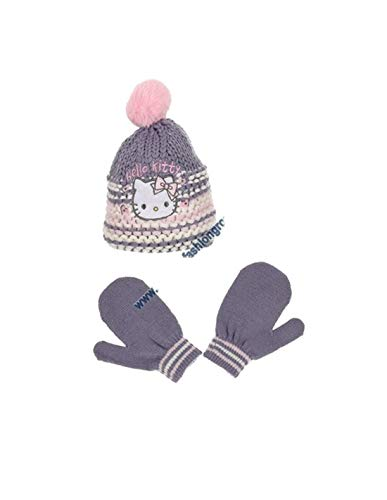 Hello kitty Bonnet maille et moufles bébé/enfant fille Rose et Violet de 9mois à 3ans - Violet, 48 cm (9-18 mois)