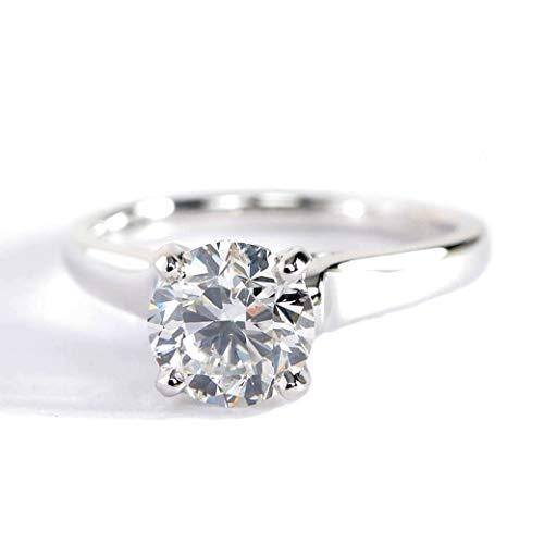 Anillo de compromiso de oro blanco de 18 quilates con diamante de corte redondo de 1,05 quilates SI2 H