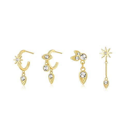Pendientes de Aro Circulo Oro Pendientes Forma de Lágrima Cartílago Set Pendientes Retro Mujer