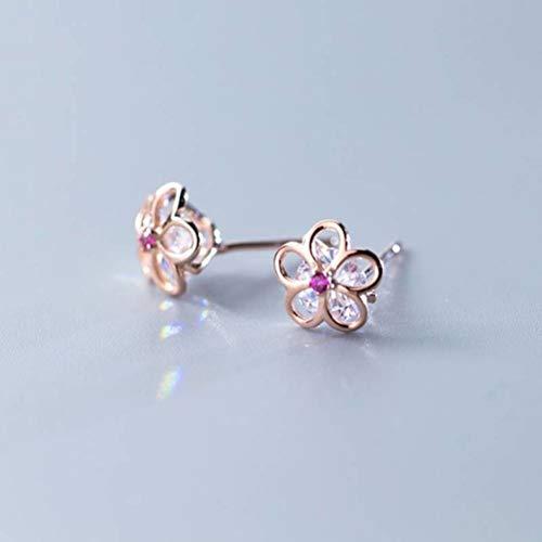 WOZUIMEI S925 Pendientes de Plata Estilo Coreano Moda Diamante Cinco Pétalos Pendientes de Flores Temperamento Encantadora Damaoro rosa