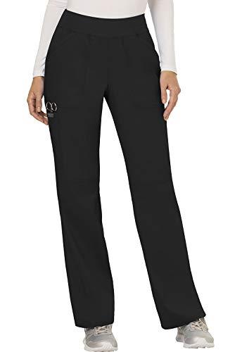 CHEROKEE Women's Mid Rise Straight Leg Pull-on Pant, Black, Large