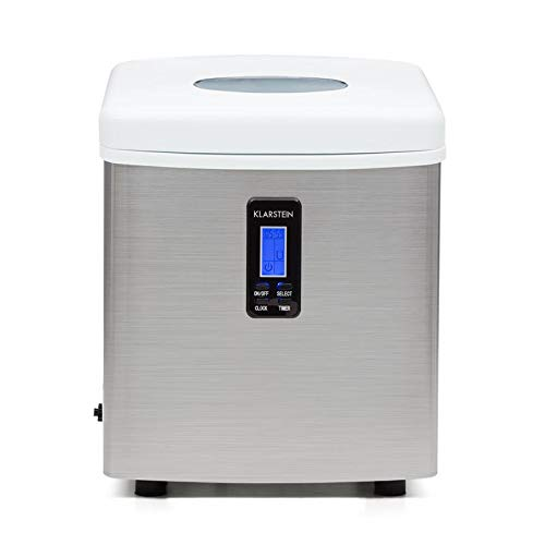 Klarstein Mr. Silver-Frost - Machine à glacons, Réservoir d'eau de 3,3L, 150W de puissance, Fonctionnement silencieux, Sans arrière goût, Sans...