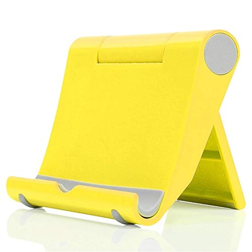 Jennyfly Phone Stand Foldable Durable ABS Foldable Desk Cell Phone Stand Holder Lightweight Adjustable Viewing Angle Samll Desktop Cellphone Holder Fits for Phones iPad Tablet - Yellow