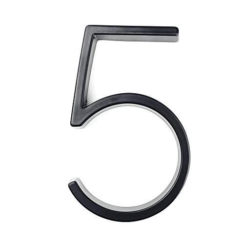 BNXTF SR-CN 12cm Grande 3D Moderno de la casa de la Puerta número Home números de dirección for la Puerta Exterior Número Cámara Digital Sign Placas de 5 Pulgadas.0-9 Negro (Color : 5)