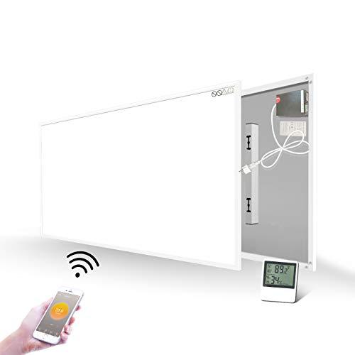 700W Infrarotheizung mit WiFi Eingebautem Thermostat Temperatursensor Wandheizung Heizplatte Heizpaneel Infrarot Wandmontage Energiesparend Überhitzungsschutz Carbon Crystal mit CE GS RoHS
