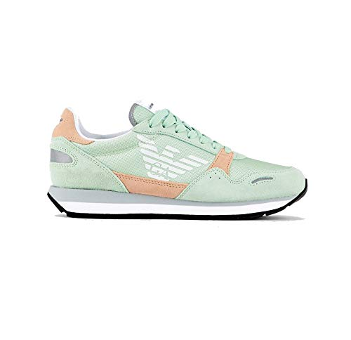 Emporio Armani Damen Sneakers, niedrig, hellblau/hellgrün, X3X058XL481R, Grün - hellgrün - Größe: 36 EU