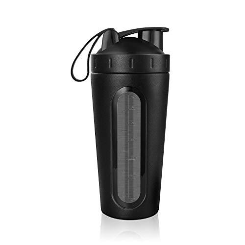 Agitador de proteínas de Acero Inoxidable con Bola de Mezcla Botella de Agua Libre de BPA A Prueba de Fugas Gimnasio Mezclador de Vaso Botella de Bebida Deportiva (Color : Black)