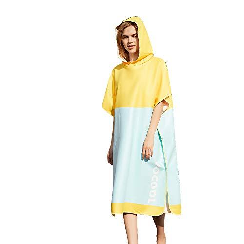 Vertvie Surf Poncho Strandtuch Badeponcho Bademantel mit Kapuze Unisex Duschtuch Handtuch Strandmode Mobile Umkleide Mikrofaser Schnelltrockend (One Size, 1#gelb+himmelblau)