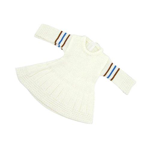 Sharplace Modische Puppen Weiße Strickkleid Puppenkleid für 18 Zoll American Girl Bekleidung Zubehör