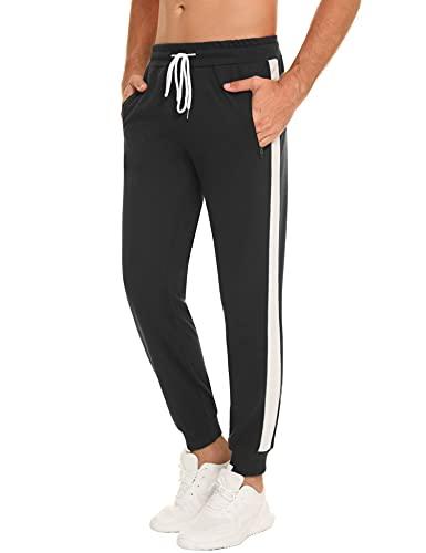 Sykooria Pantalon Chandal Hombre Pantalones Deportivos de Algodón Pantalon Deporte Hombre Pantalones de Chándal Hombre para Correr Jogging Fitness con Bolsillos,Negro,XL