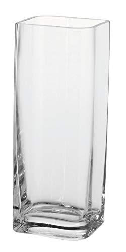 Leonardo Kasten-Vase Lucca, moderne Blumenvase, handgefertigtes Unikat in rechteckiger Form aus Glas, H 30 x B 11-cm, 014327