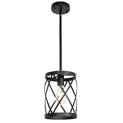 ELUZE1-Light Adjustable Pendant Lighting Fixtures, Black Farmhouse Hanging Chandelier Lights, Mini Cage Industrial Ceiling Lamp for Kitchen Island Dining Room Over Sink Hallway Bedroom