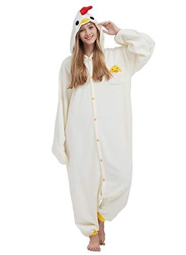 Pigiama Anime Cosplay Halloween Costume Attrezzatura Adulto Animale Onesie Unisex, Pollo per Altezze da 140 a 187 cm