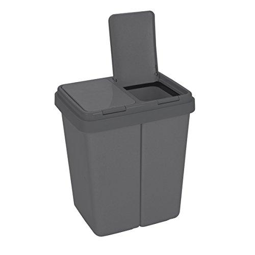 Cubo de basura de dos compartimentos con tapa Cubo de basura de plástico para la cocina Cubo de basura a prueba de olores Sistema de separación de residuos, 2 x aprox. 25 litros