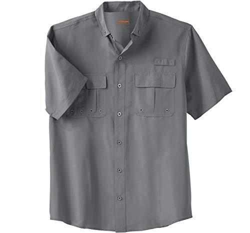 Boulder Creek by Kingsize Men's Big & Tall Off-Shore Short-Sleeve Sport Shirt - Big - 5XL, Steel