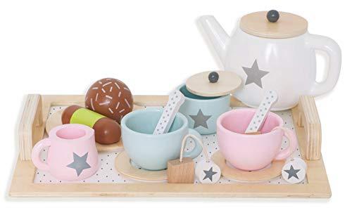 JaBaDaBaDo T257 Holz Spielzeug Kaffeekränzchen Tee Set mit viel Zubehör