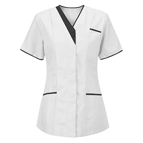 camicia donna Jitong Donna Camice Medico Manica Corta Scollo a V. Infermiera Estetista Maglietta da Laboratorio con Taschino - Bianco | Stile #1