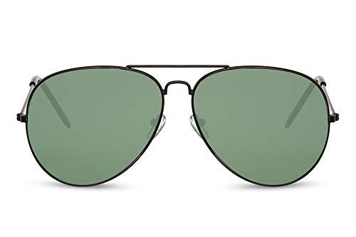 Cheapass Sunglasses Gafas de sol de Piloto de Metálicas plateado oscuro con lentes verdes UV400 para hombre