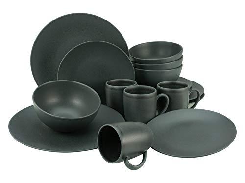 Creatable, 23145, Serie SOFT TOUCH BLACK, Geschirrset, Kombiservice 16 teilig, Steinzeug, schwarz