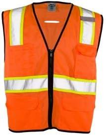 ML Kishigo 1581 Economy 6 Pocket Contrast Vest - Orange 4XL/5XL (6 Units)