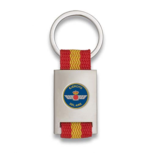 Tiendas LGP Albainox- Llavero Bandera de España y Emblema Ejército del Aire, Plateado