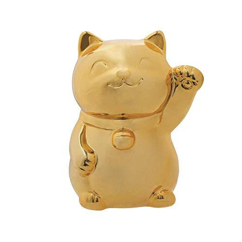 La Chaise Longue - Salvadanaio a forma di gatto portafortuna, in ceramica, colore: oro, 9,5 x 17 cm