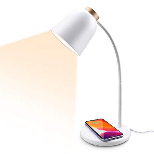 Schreibtischlampe, LED USB-Anschluss und Induktiv Wireless Charger Laden für Handy Dimmbar Faltbar Multifunktionale Tischlampen Augenschutz Büro 5W 3 Beleuchtungsmodi(Tyrannengold)[Energieklasse A]