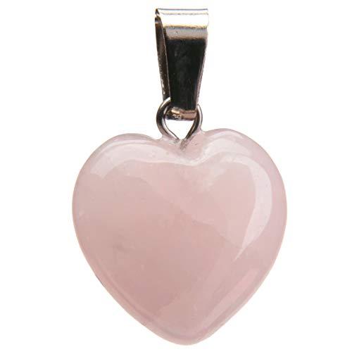 aqasha Collar con colgante de cuarzo rosa con forma de corazón para mujer, joya de amor en forma de corazón, piedras preciosas (1,6 x 1,6 cm)