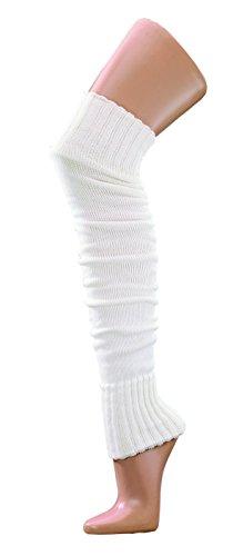 krautwear® Damen Mädchen 1 Paar Beinwärmer Stulpen Legwarmers Overknees gestrickte Strümpfe ca. 70cm Öko-Tex Standard 100 80er Jahre 1980er Jahre schwarz beige rot weiss grau braun (white)