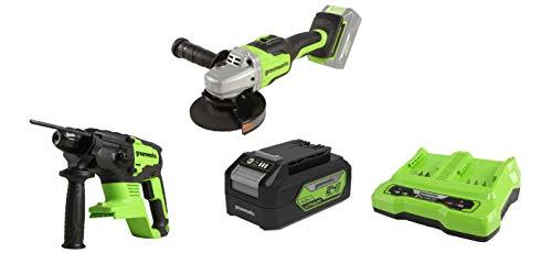 Greenworks Akku-Winkelschleifer GD24SAG + Akku-Schlagbohrer GD24SDS2 +Akku G24B4 2.Generation +Doppelsteckplatz-Akku-Universalladegerät G24X2C