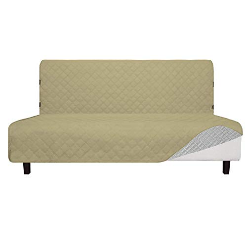 Easy-Going Sofa Slipcover Futon Cover Waterproof Couch Cover Furniture Protector Cover Pets Covers Whole Fabric No Stitching Non-Slip Fabric Pets Kids Children Dog Cat (Futon, Sand)