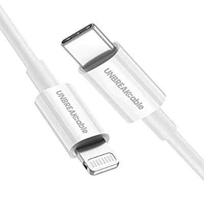 """UNBREAKcable USB C to Lightning Cable-[3.3ft/1M MFi Certified]- Apple Lightning Cable PD Fast Charge Compatible for iPhone 11/11 Pro/11 Pro Max/X/XR/XS/XS Max/8/8Plus/7/7Plus/6/iPad Pro 10.5""""/12.9"""""""