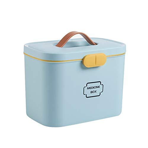 Hzb821zhup - Caja de medicina portátil de gran capacidad para el hogar, kit de primeros auxilios, caja organizadora de medicamentos, caja de almacenamiento de plástico para el hogar, azul, talla única