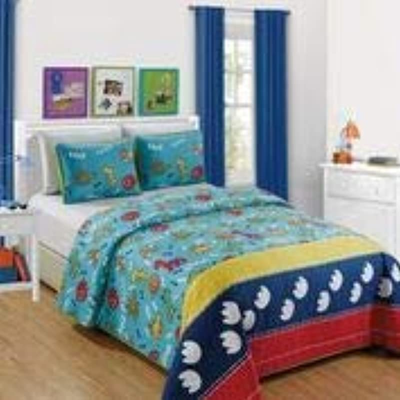 Kids Zone Home Linen Aqua Dino 3pc Full Size Bedspread Multi Color Dinosaurs Yellow Red And Blue Thick Strip
