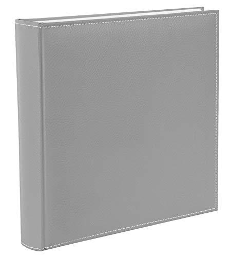 goldbuch 31809 Fotoalbum Cezanne, Album 30 x 31 cm für Fotos und Bilder zum Einkleben, Fotobuch mit 100 weiße Seiten mit Pergamin Trennblättern, Erinnerungsalbum mit Kunstleder, Stein